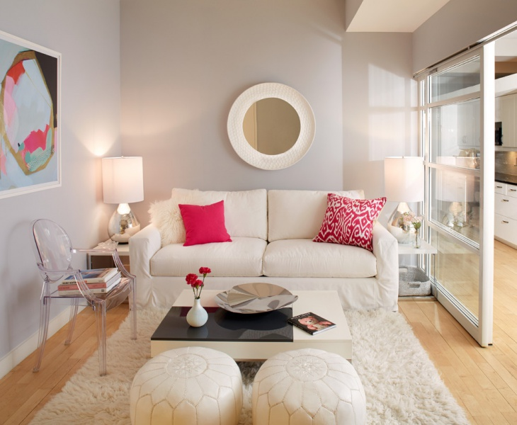 pink living room wall interior