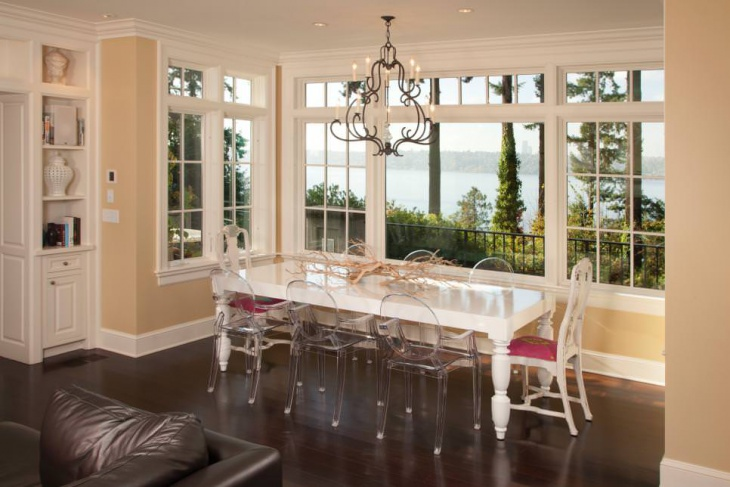 White Dining Table with Glass Chairs