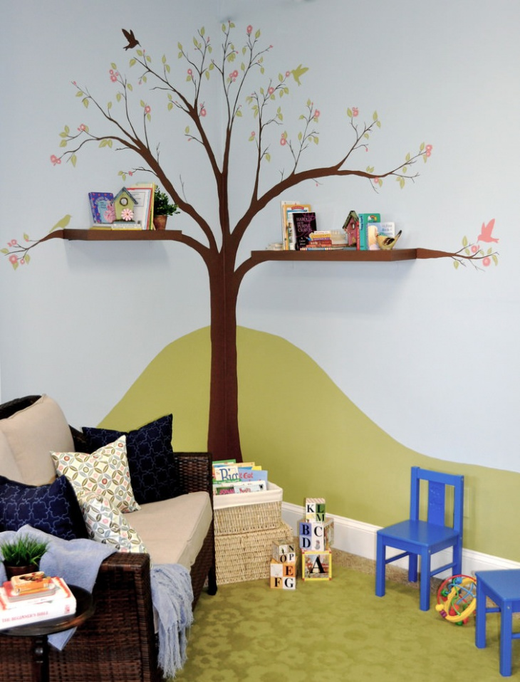 playful wall design for kids room