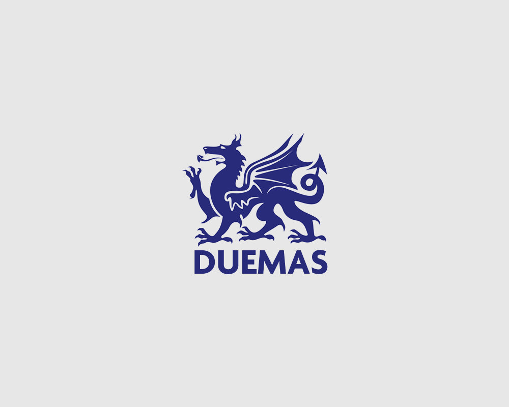 Duemas Logo with Dragon Design