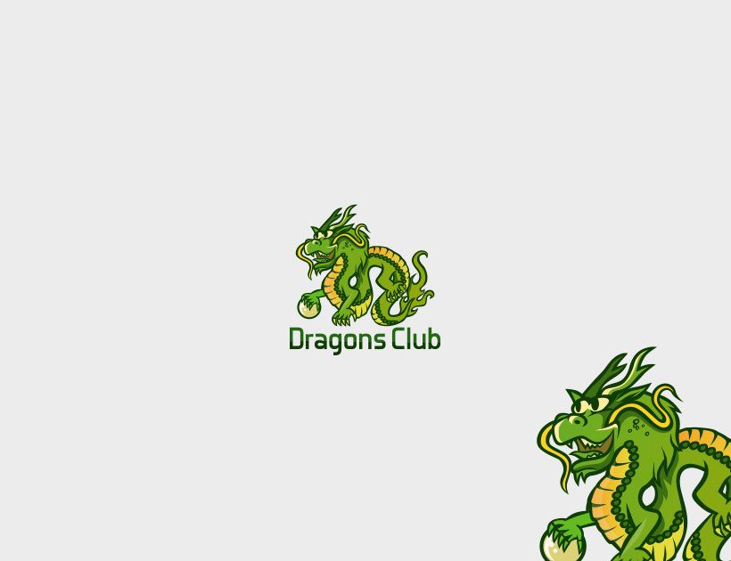 green dragons club logo design