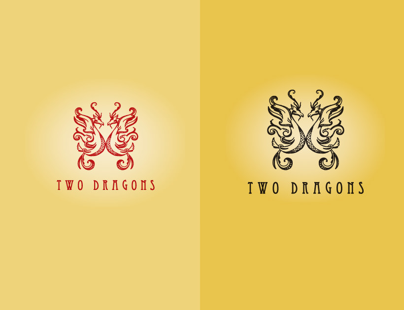 two dragons logo designs