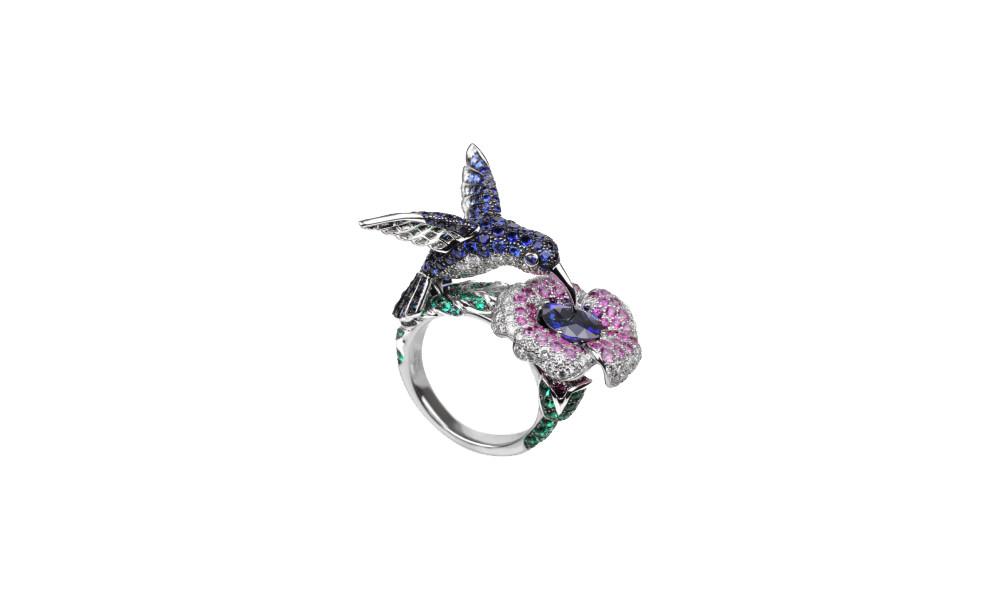 hummingbird ring blue sapphire