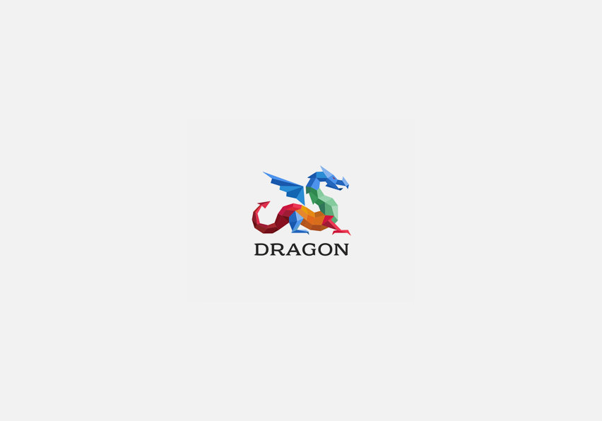 Polygon Dragon Logo Design