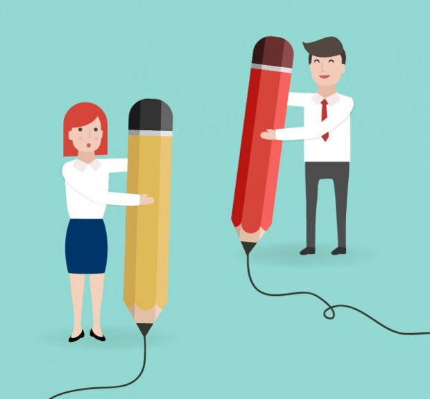 Entrepreneurs with Big Pencil Vector
