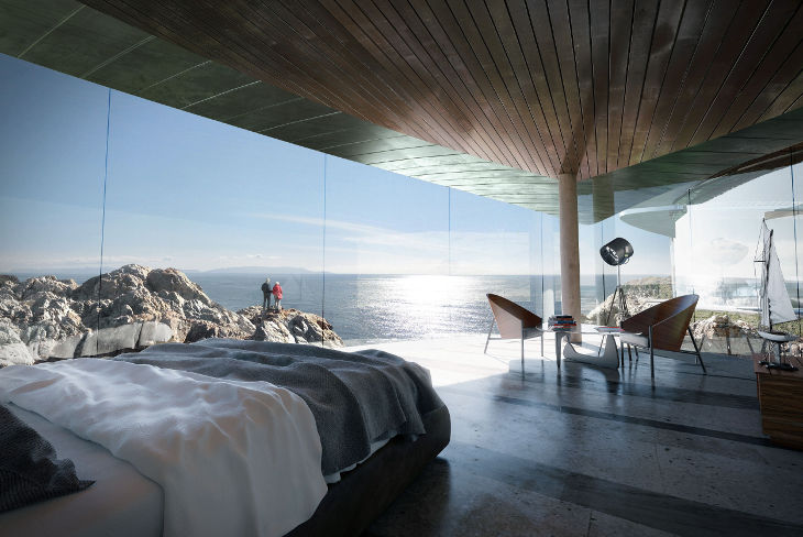 View of vast expanse of horizon from bedroom, John Marx, Sea Song