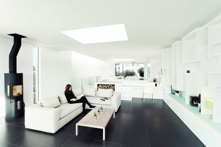living room with black flooring
