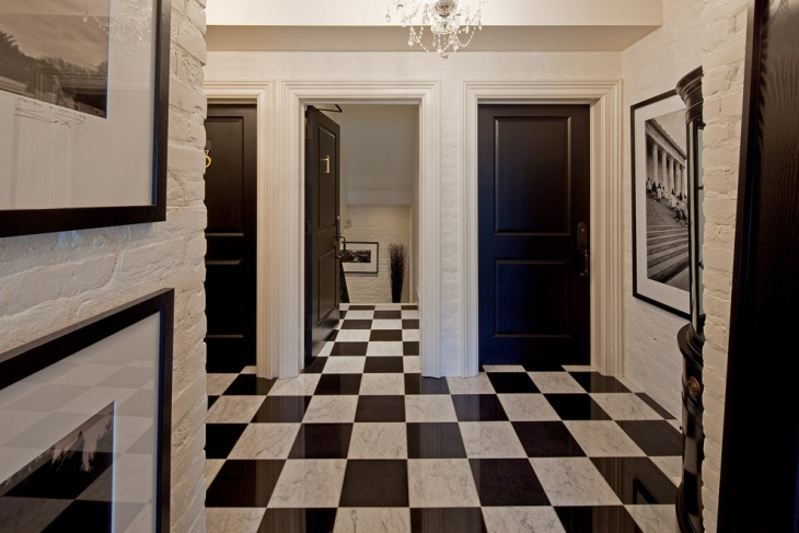 entry way black and white tiles