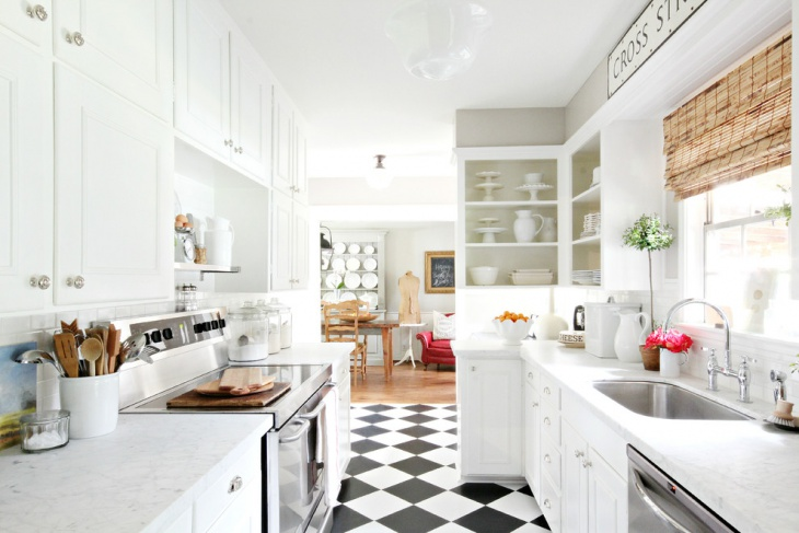 Kitchen Black and White Floor Tiles