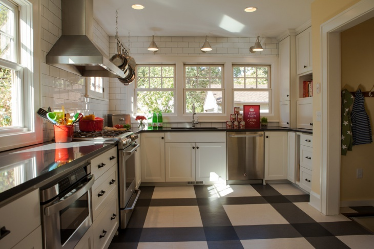 kitchen black and white tile floor - White Tile Floors In Kitchen