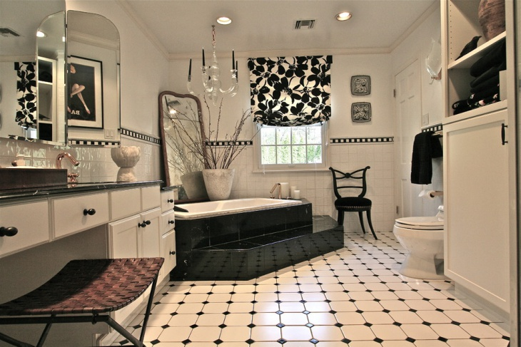 master bathroom black and white tiles