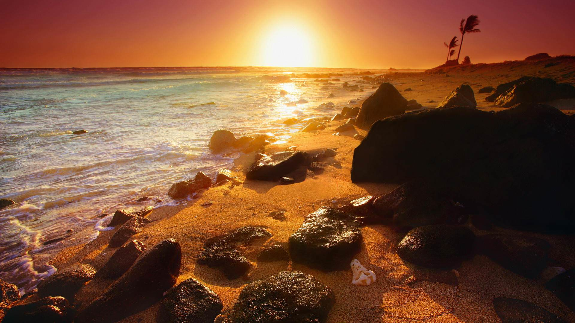 Stone Beach Sunset In Bed Room wall papers