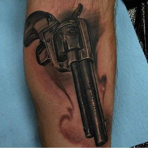 Black And Grey Gun Tattoo Designs