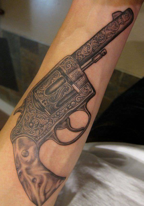 Show Case Gun Tattoo Designs