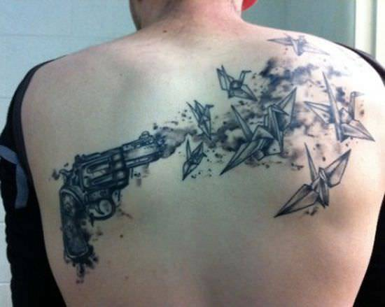 Birds Shoot Gun Tattoo Designs