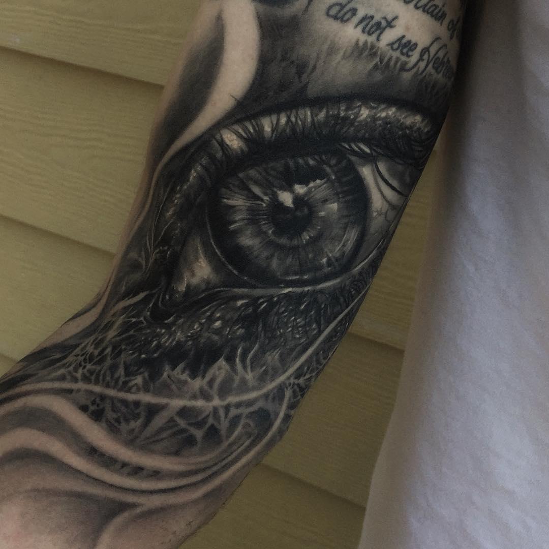 Healed Shot Eye Tattoo Design
