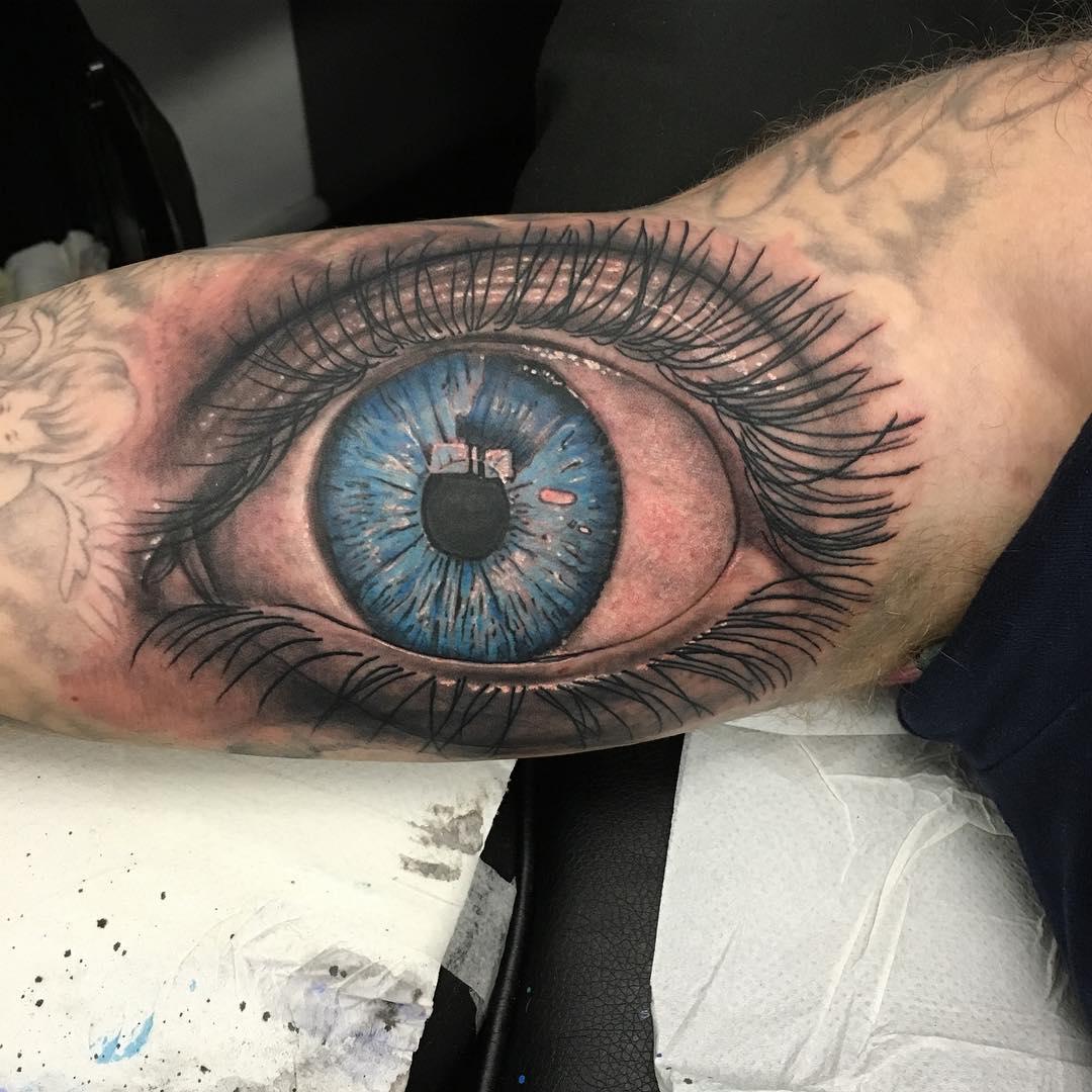 Inside Action Eye Tattoo Design