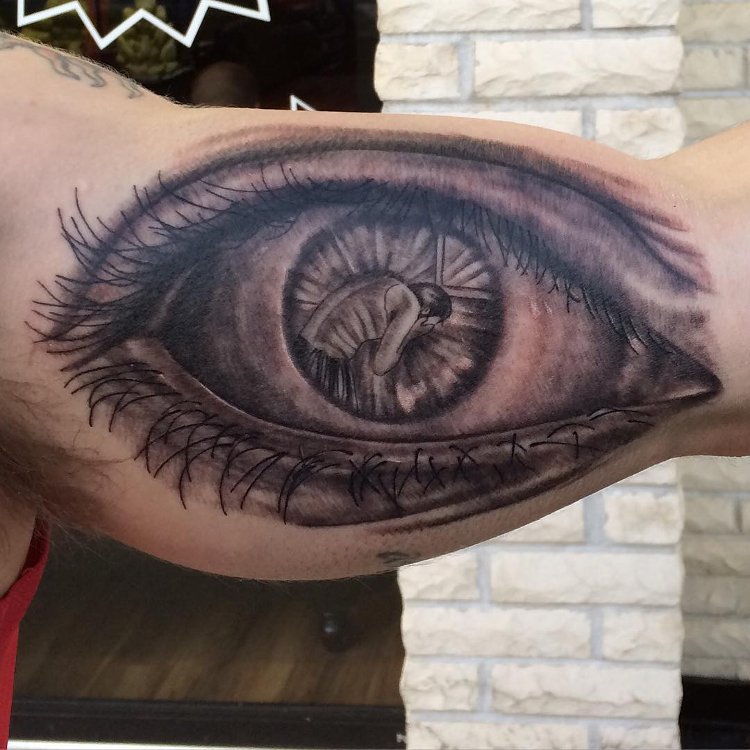time less eye tattoo design