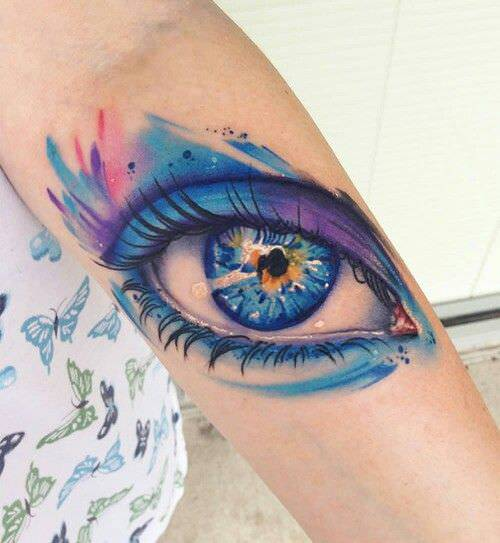 water color eye tattoo design