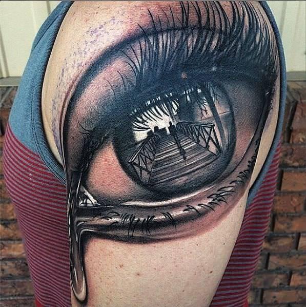 Blowing Eye Tattoo Design