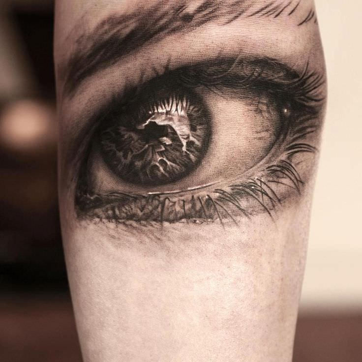 black and gray eye tattoo design