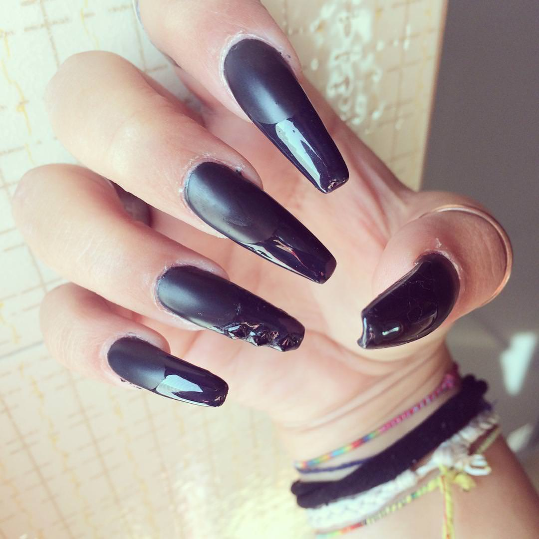 Shiny Black Nail Design