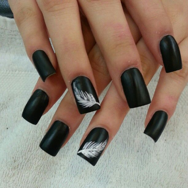 Black With whispy Black Nail Design