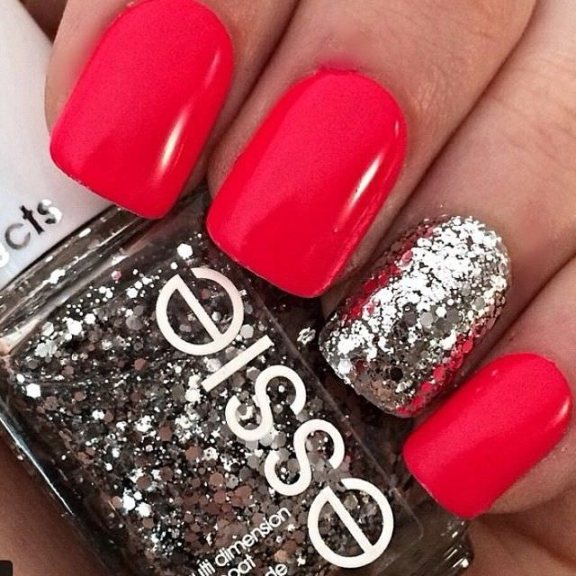 Colored Red Nail Design