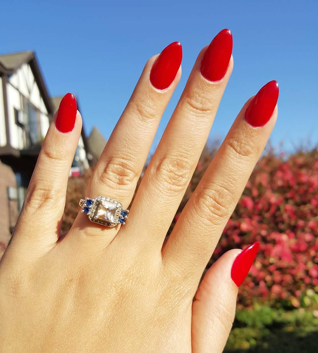 stiletto red nail design