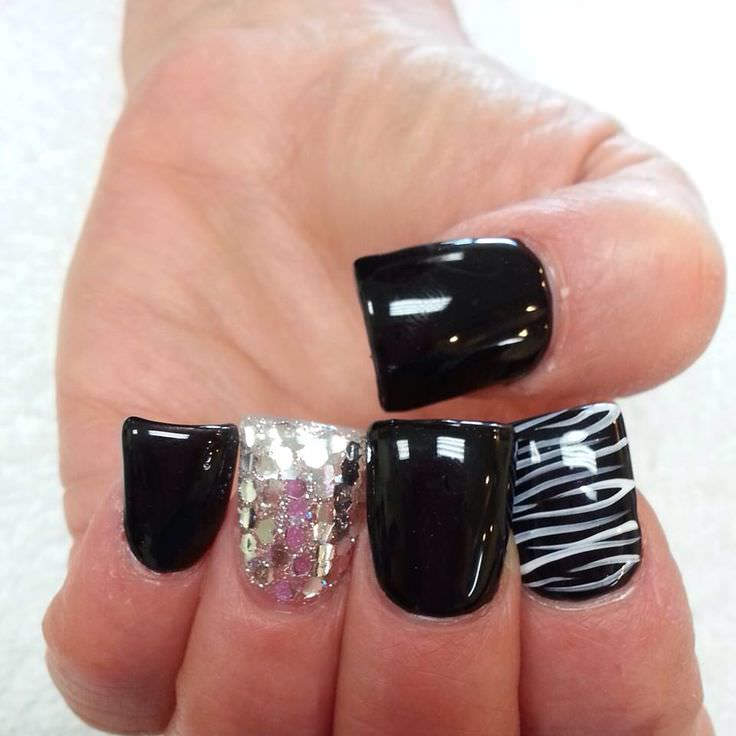 Shine Zebra Nail Design