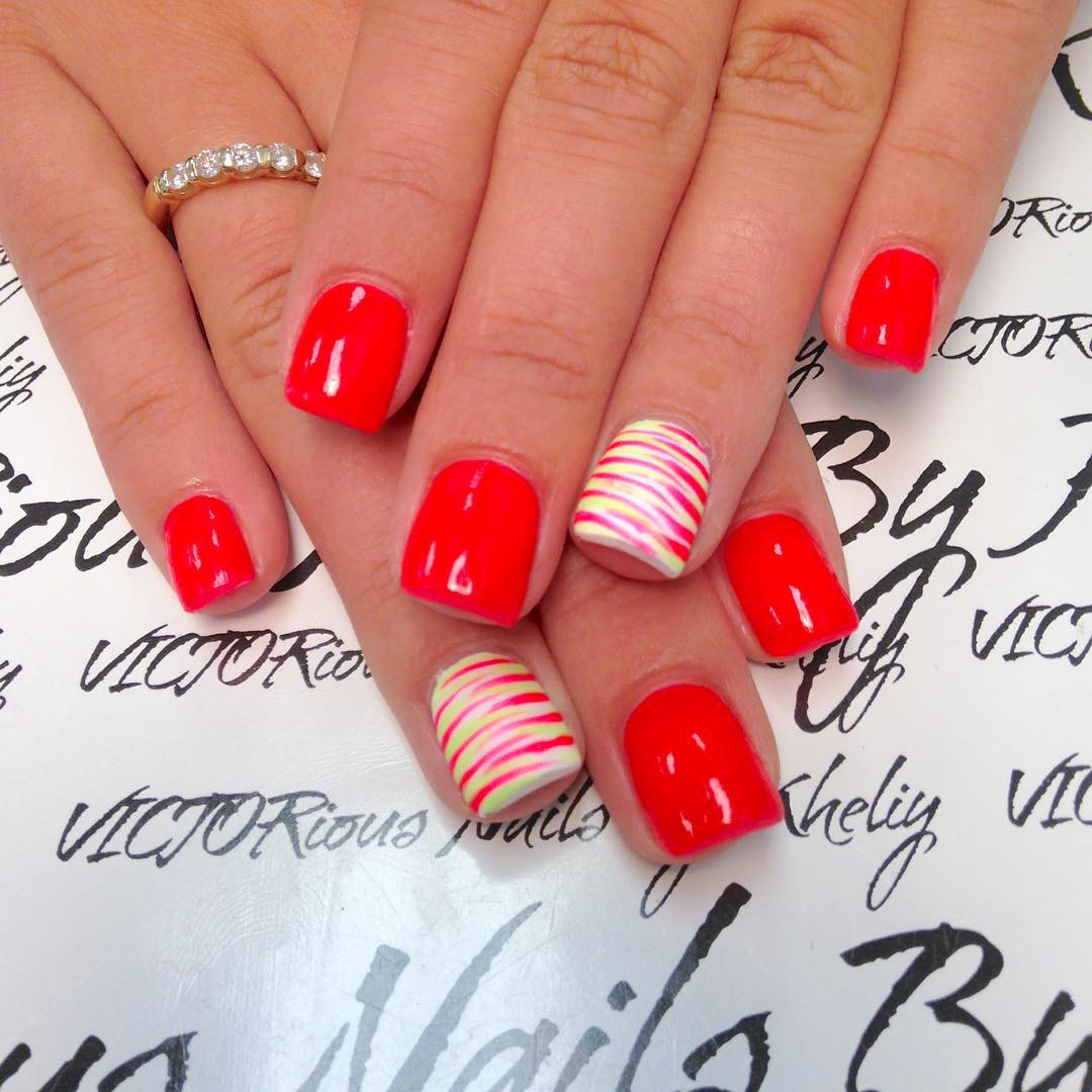 Red Zebra Nail Design