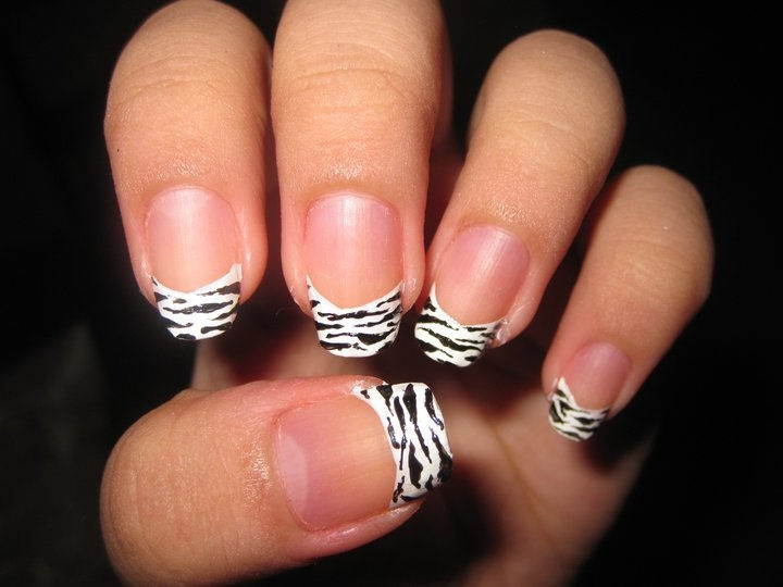 French Zebra Nail Design