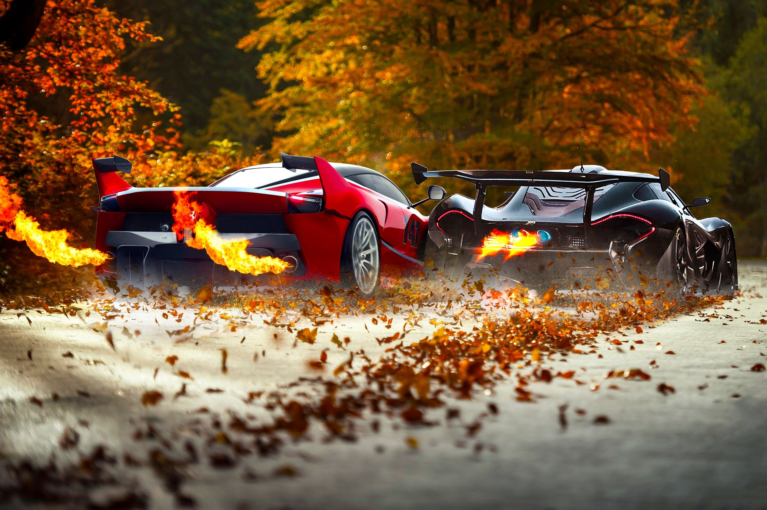 Ferrari and Mc Leren Car Background