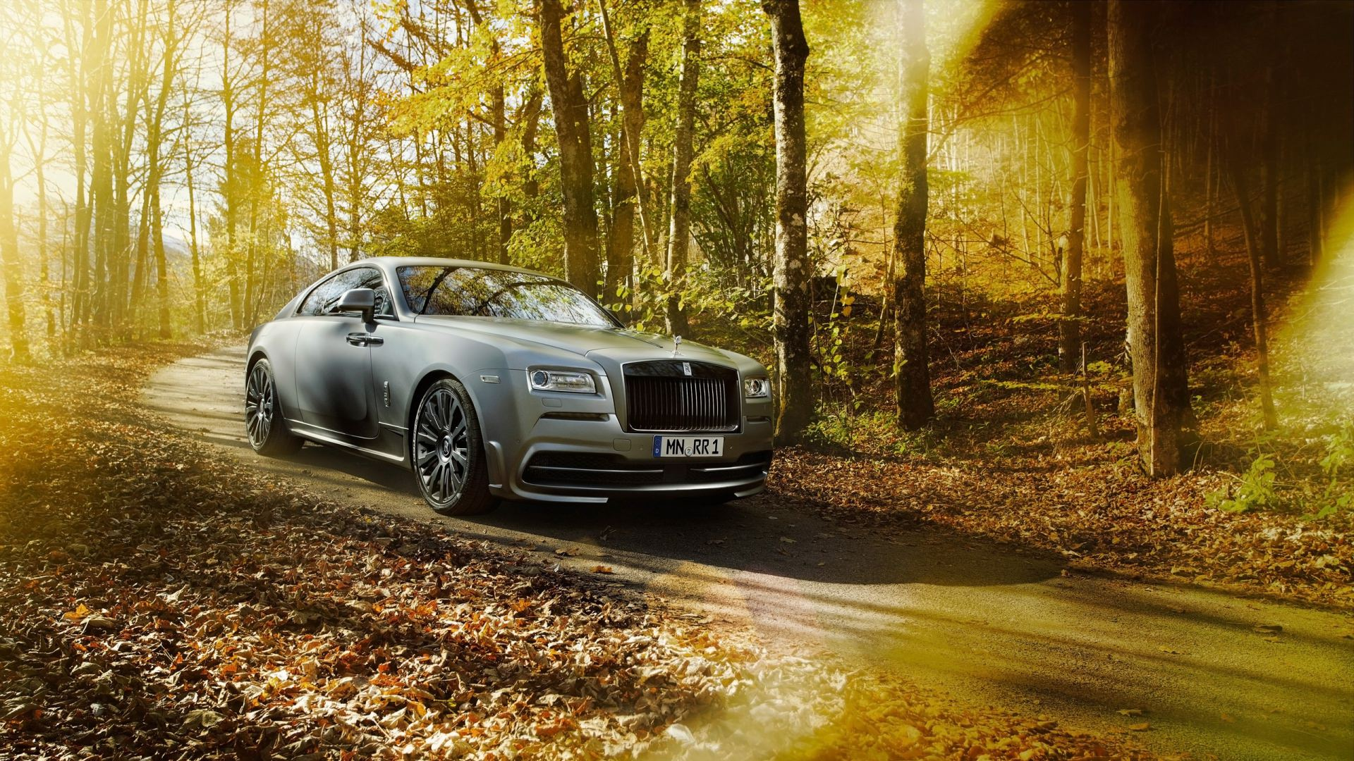 Parked Rolls Royce Car Background