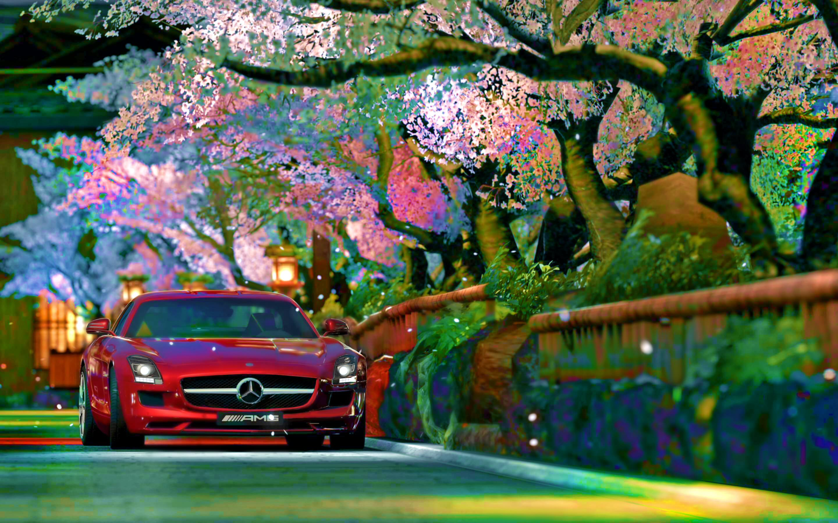 Red Mercedes Benz Background