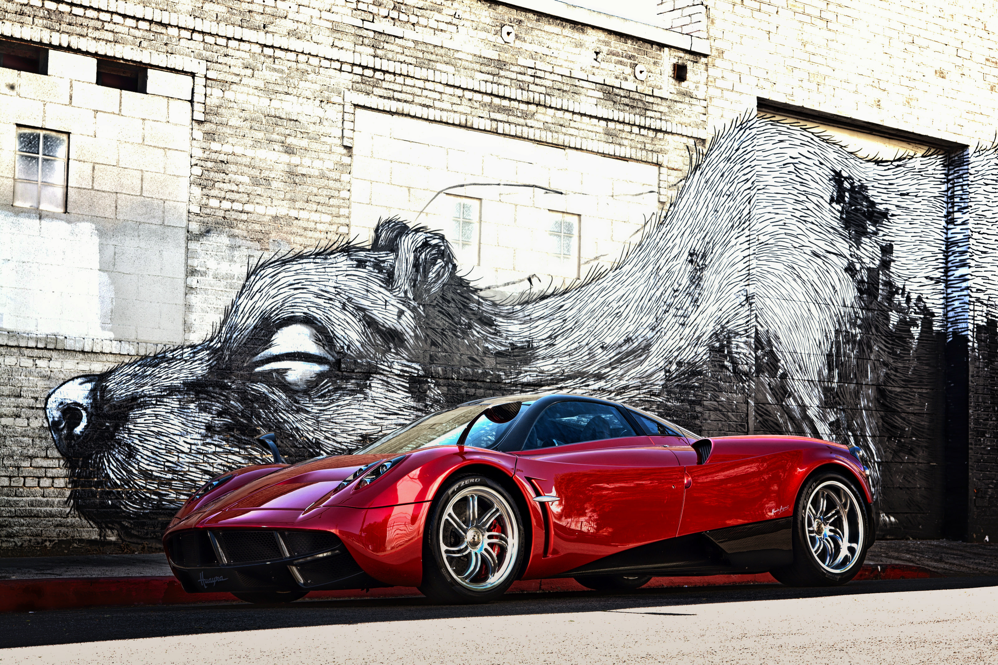 Red Pagani Car Background