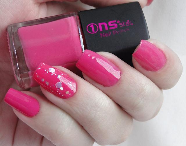 Pure Pink Glitter Nail Design
