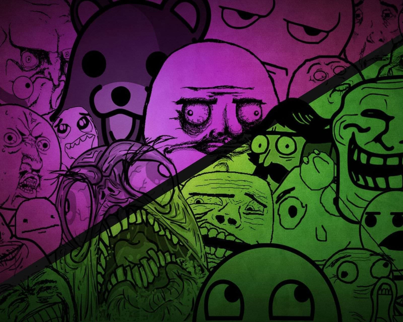 Green and Purple Funny Wallpapers