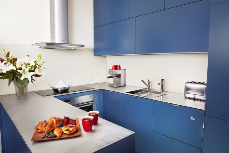 Blue Cabinets Kitchen Idea