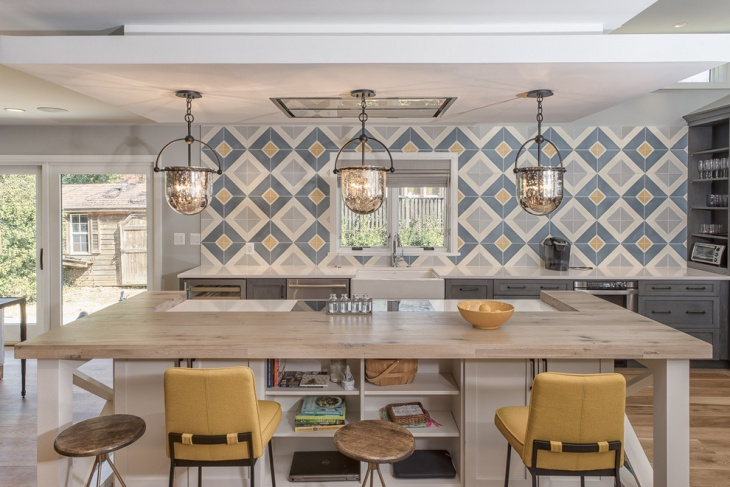 eclectic farm house with triangle pattern wall