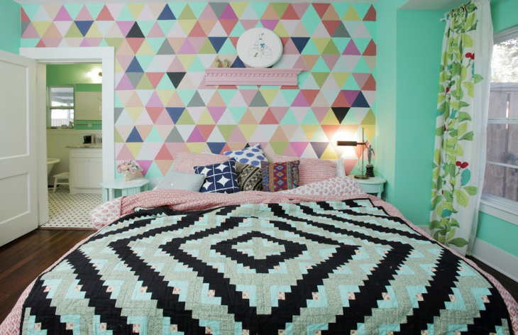 muti color patterned walls for bedroom