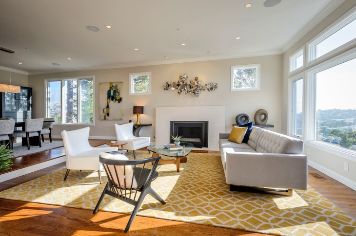 Transitional Living Room With Yellow Pattern Rug
