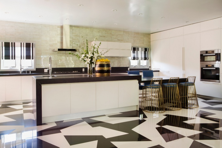 Black and White Tiles For Kitchen.