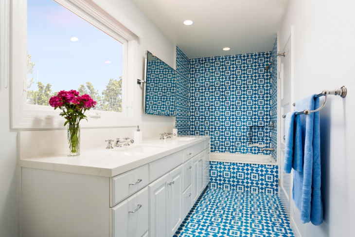 Small Bathroom With Blue Patterned Tiles