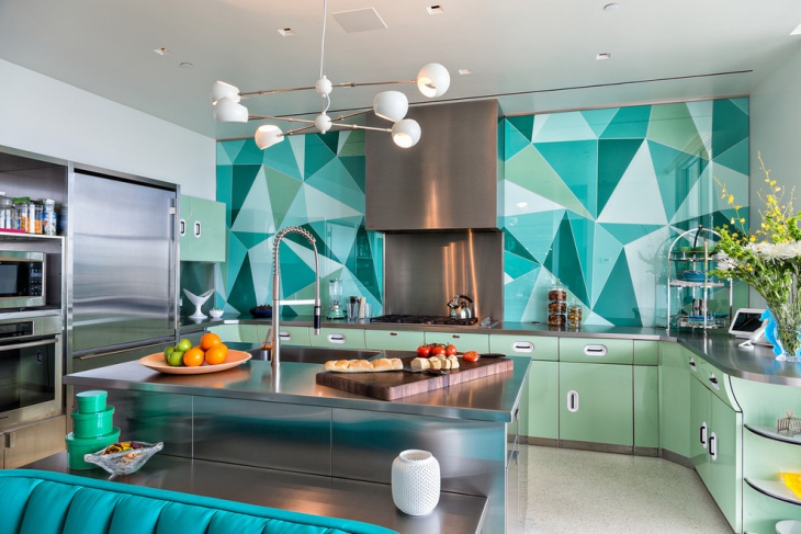 Blue Color Pattern Walls For Kitchen