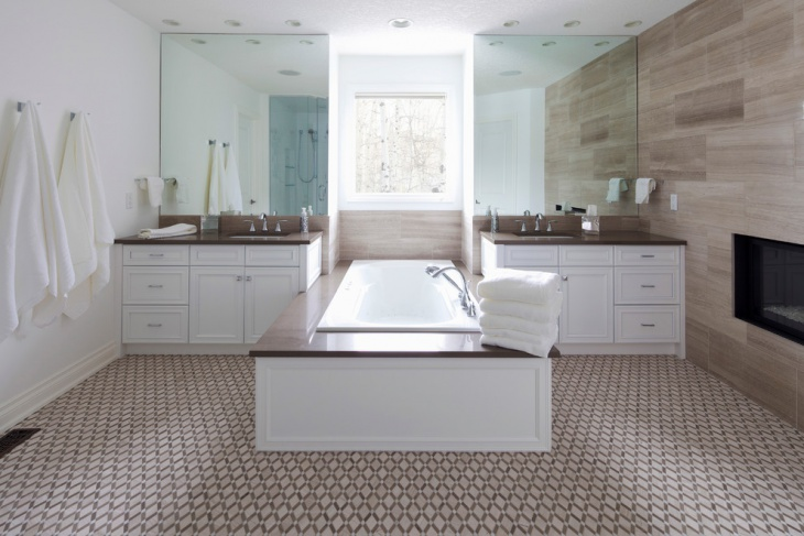 Geometric Tile Pattern For Master Bathroom