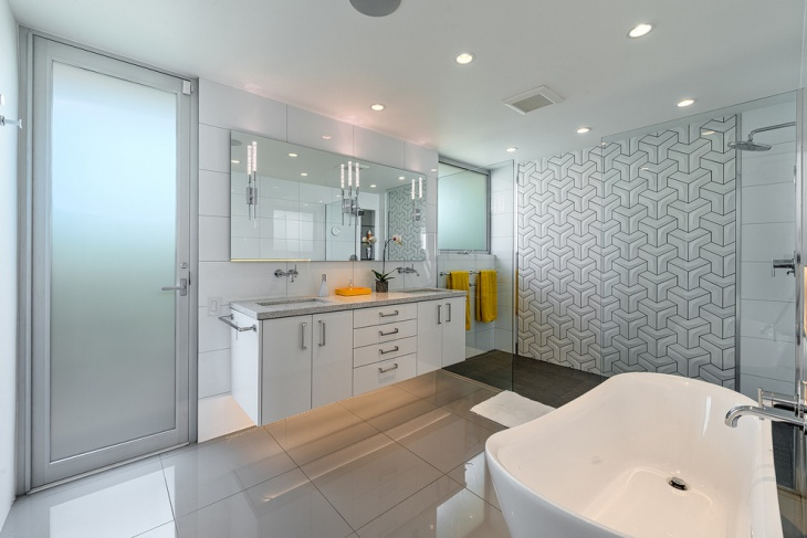 Modern White Pattern Bathroom Wall Tile Idea