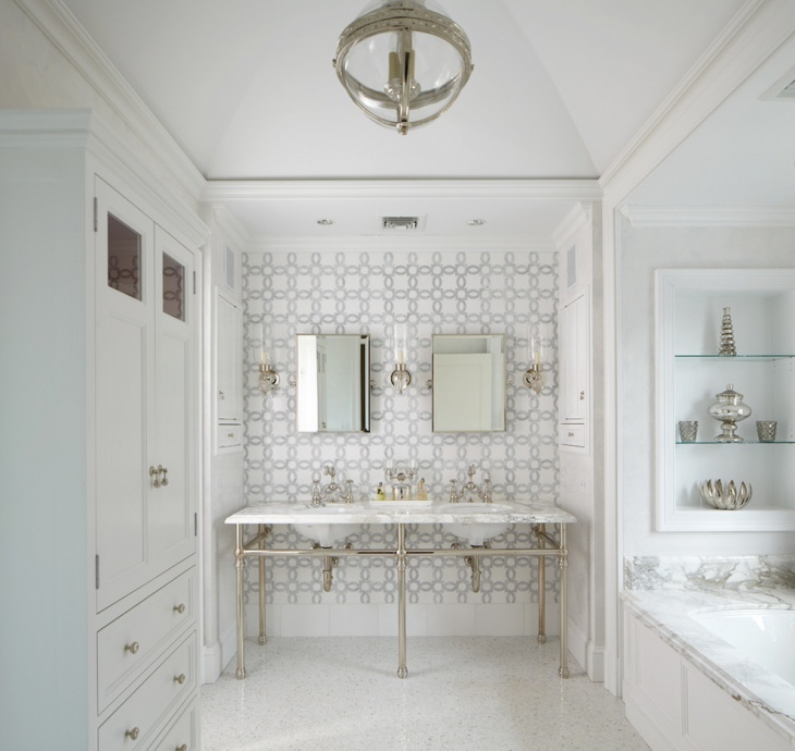 Classic Floral Patterned Tiles Bathroom