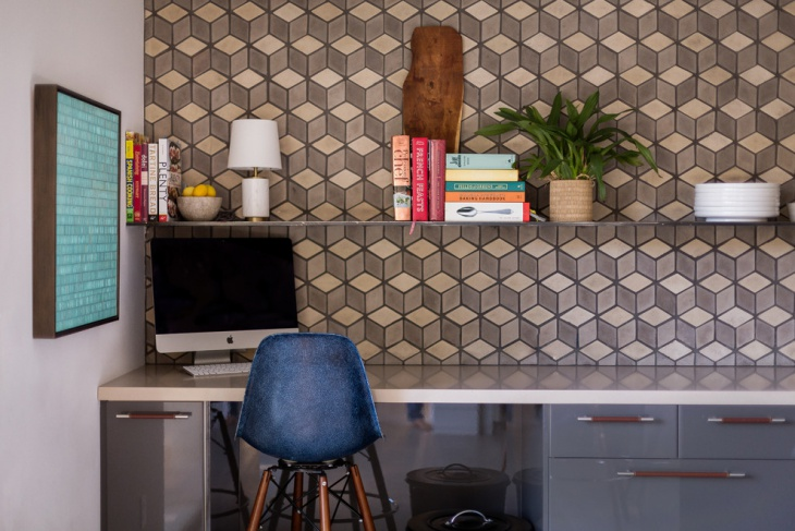 Diamond Shaped Tiles Home Office.