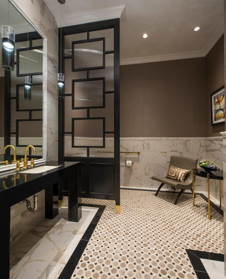 Transitional Powder Room Tiles